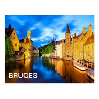 Sunset in Bruges. Belgium Postcard