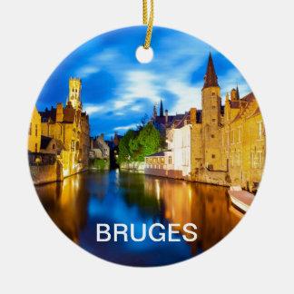 Sunset in Bruges. Belgium Round Ceramic Decoration