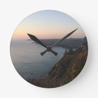 Sunset in Cornwall Round Clock