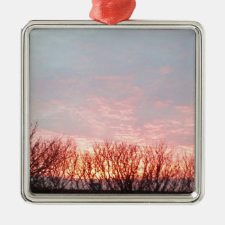 sunset in cornwall Silver-Colored square decoration