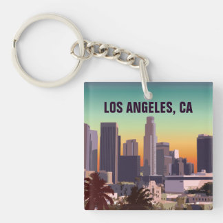 Sunset In Downtown Los Angeles, California Single-Sided Square Acrylic Key Ring
