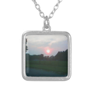 Sunset in Flint Michigan Square Pendant Necklace