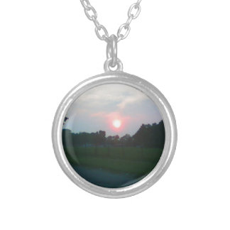 Sunset in Flint Michigan Round Pendant Necklace