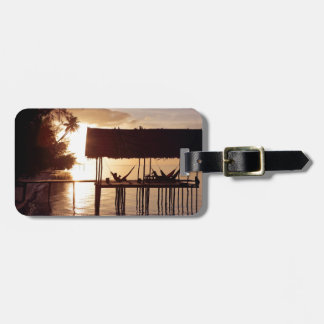 Sunset in hammock on tropical island beach luggage tag