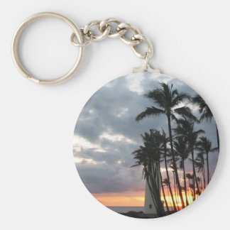 Sunset in Hawaii Basic Round Button Key Ring
