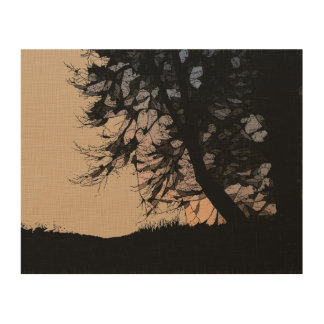 Sunset in Ink Wood Wall Art