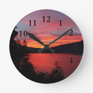 Sunset in Lake and mountain views Wall Clock