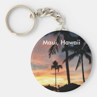 Sunset in Maui, Hawaii Basic Round Button Key Ring