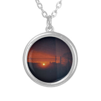 sunset in my window silver plated necklace
