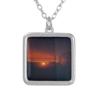 sunset in my window square pendant necklace