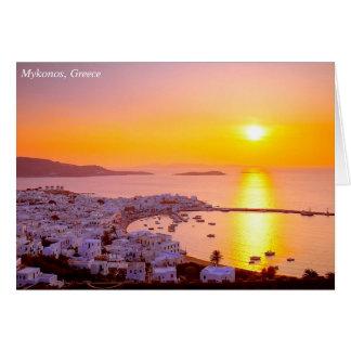 Sunset in Mykonos, Greece Card