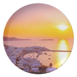 Sunset in Mykonos, Greece Plates