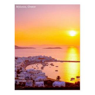 Sunset in Mykonos, Greece Postcard