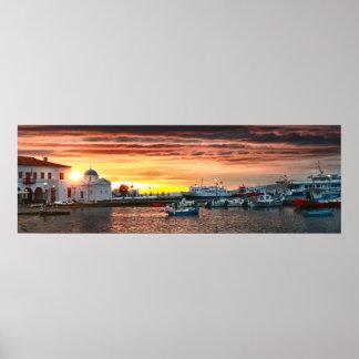 Sunset in Mykonos, Greece Poster