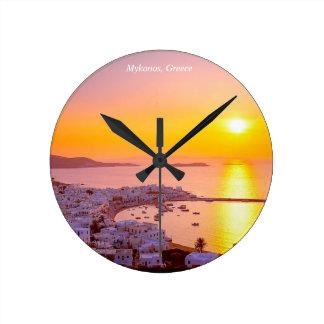 Sunset in Mykonos, Greece Round Clock