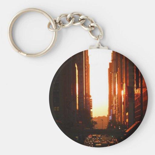 Sunset in New York City Key Chain