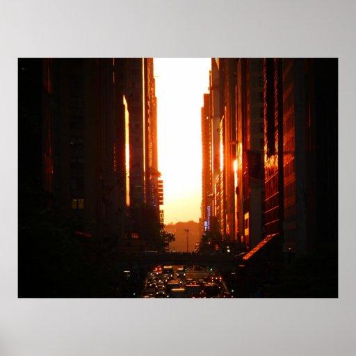 Sunset in New York City, Medium Poster