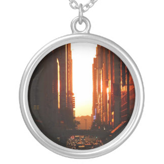 Sunset in New York City Round Pendant Necklace