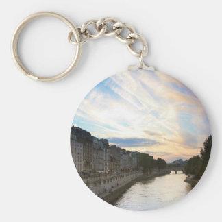 Sunset in Paris Basic Round Button Key Ring
