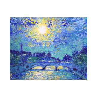 Sunset in Paris, France, painted by DenKuvaiev Canvas Print