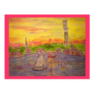 sunset in provincetown Peace On Earth Post Card