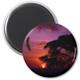 Sunset In Serengeti, Africa 6 Cm Round Magnet