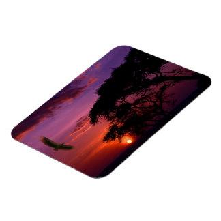 Sunset In Serengeti, Africa Rectangular Photo Magnet