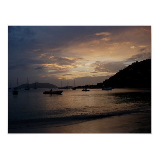 Sunset in the British Virgin Islands Poster Print