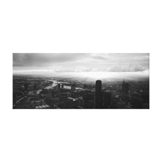 Sunset in the City (black & white) canvas print