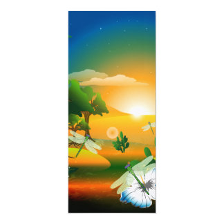 Sunset in the fantasy world 10 cm x 24 cm invitation card