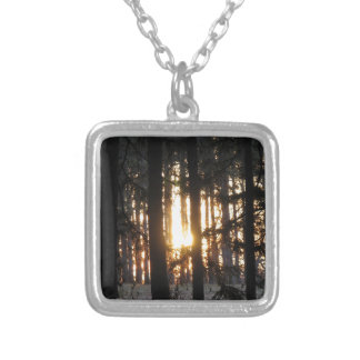 Sunset in the forest personalized necklace