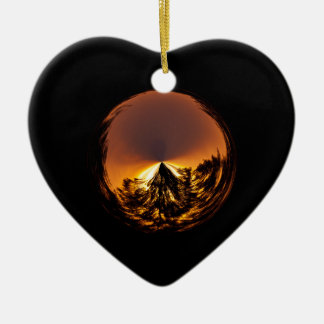 Sunset in the globe ceramic heart decoration