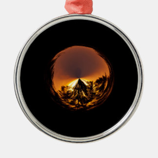 Sunset in the globe Silver-Colored round decoration