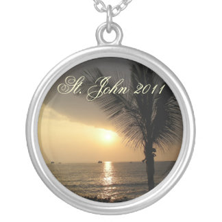 Sunset in the Tropics Round Pendant Necklace