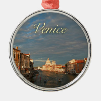 Sunset in Venice Italy Silver-Colored Round Decoration