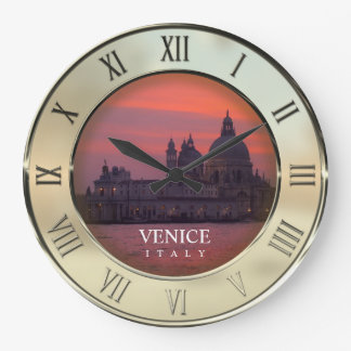 Sunset in Venice Large Clock