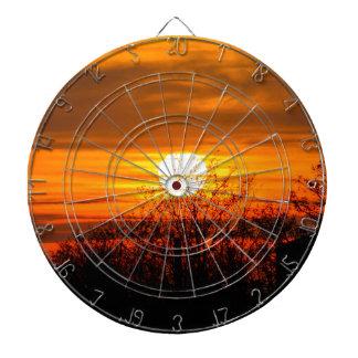 sunset in winter dartboard