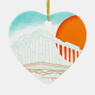 sunset inside Parthenon Ceramic Heart Decoration