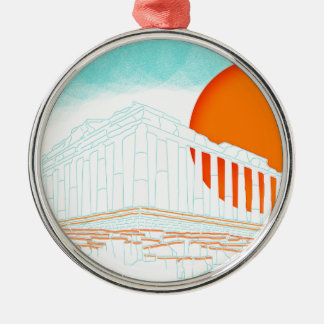 sunset inside Parthenon Silver-Colored Round Decoration