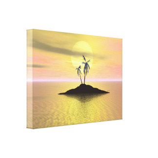 Sunset Island Stretched Canvas Print