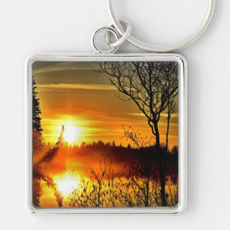 Sunset Silver-Colored Square Keychain