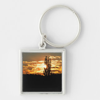 Sunset Silver-Colored Square Key Ring