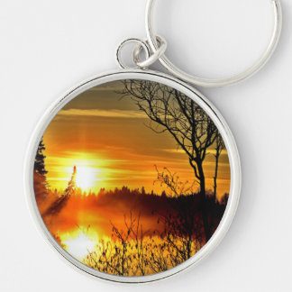 Sunset Silver-Colored Round Keychain