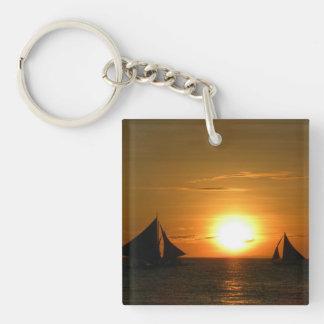 Sunset Double-Sided Square Acrylic Keychain