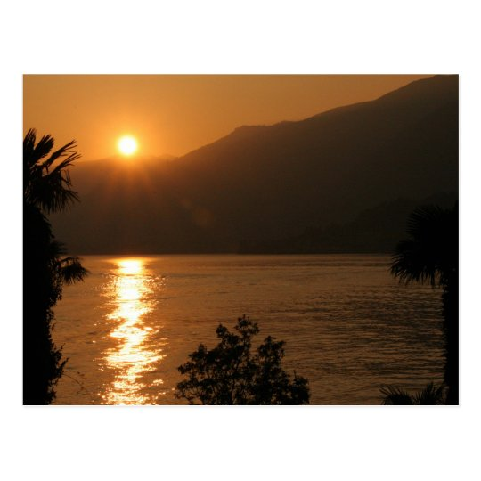 sunset ~ lake como postcard