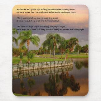 Sunset lake sad happy inspirational poem Mousepad