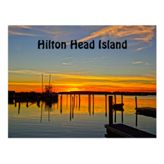Sunset Landing Skull Creek Boathouse Hilton Head Postcard