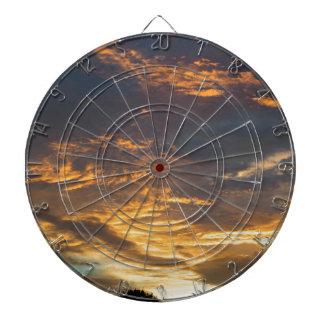 Sunset landscape. dartboard
