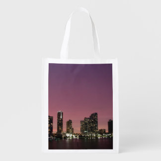 Sunset light over Miami after a storm Reusable Grocery Bag