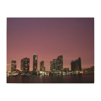 Sunset light over Miami after a storm Wood Canvas